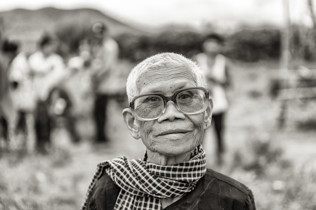 A Khmer lady with her new glasses