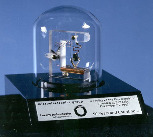 A replica of the first working transistor, a point-contact transistor invented in 1947.