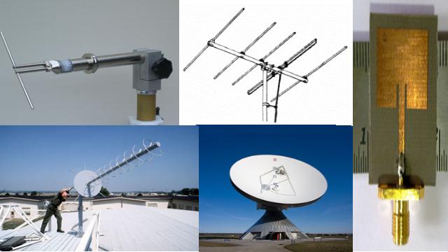 Figure 3. Half-Wave Dipole, Yagi-Uda, Helical, Parabolic, and Microstrip Antenna.png
