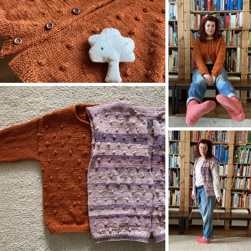 hand knitted Rönn cardigan in two variations