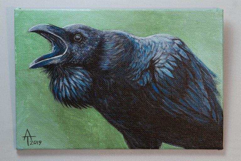"Unnamed Raven - Acrylic on 6x4"" Canvas"
