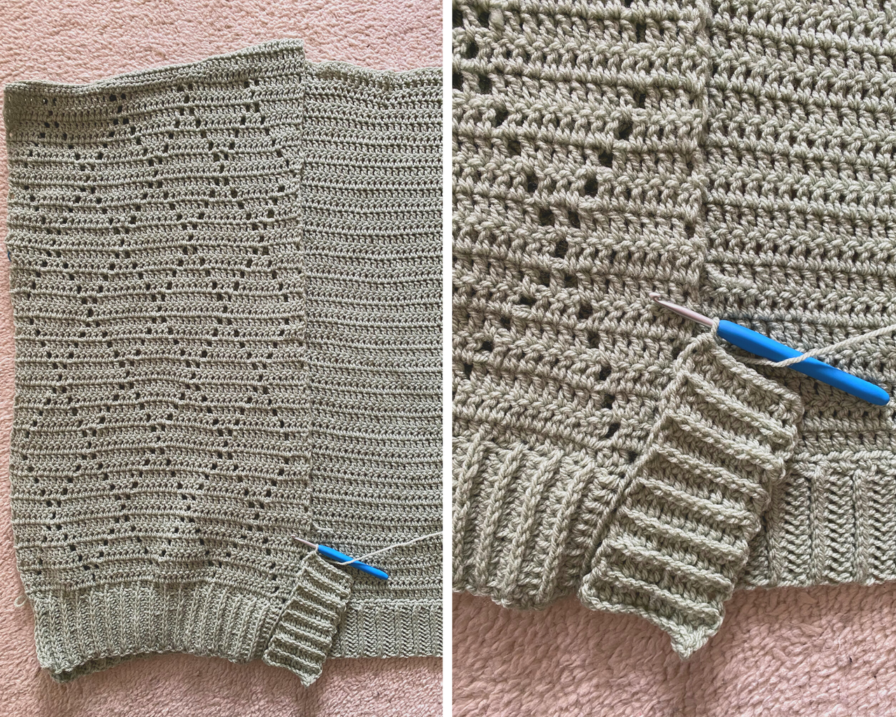 crochet ribing for the urbanite cardigan