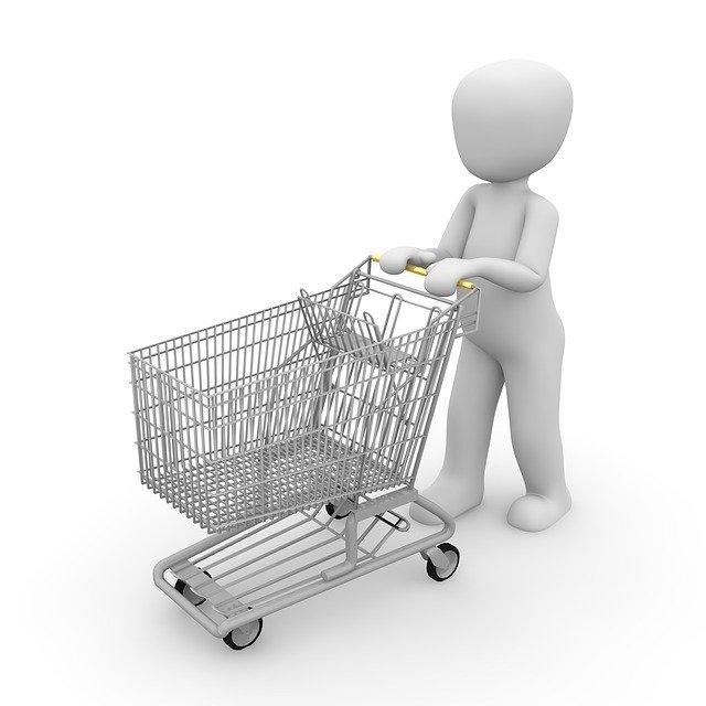 Ilustração de alguém empurrando um carrinho de compras vazio