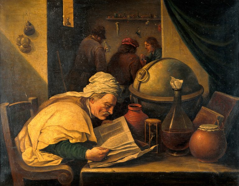 An_alchemist_in_his_laboratory._Oil_painting_by_a_follower_o_Wellcome_V0017679.jpg