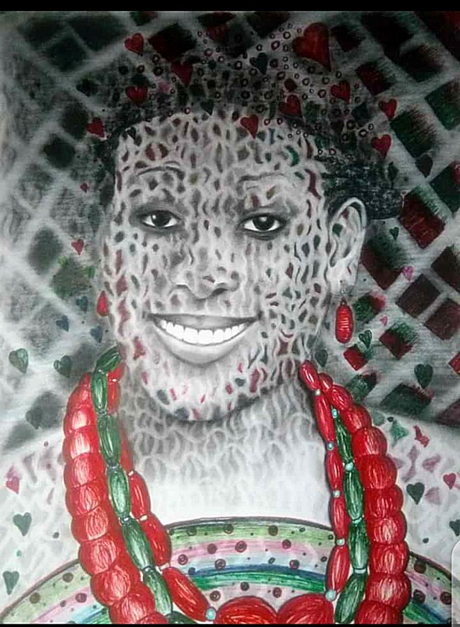 An imaginary drawing of a beautiful model with ancient cultural adornment..