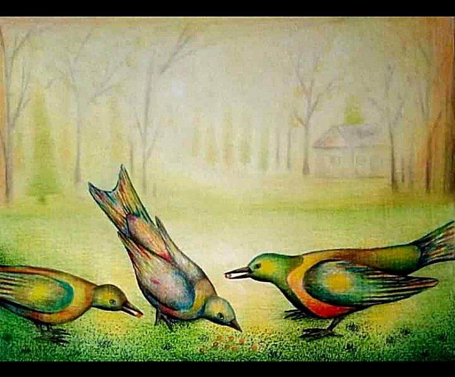 My drawing of birds feeding on the field.
