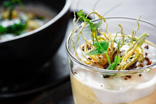 mushroom soup in a glass