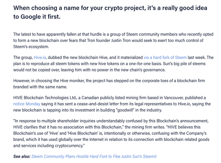 When choosing a name for your crypto project, it's a really good idea to Google it first