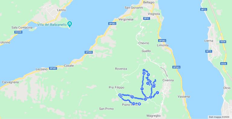 hike's map - 🇮🇹 Mappa del percorso camminato