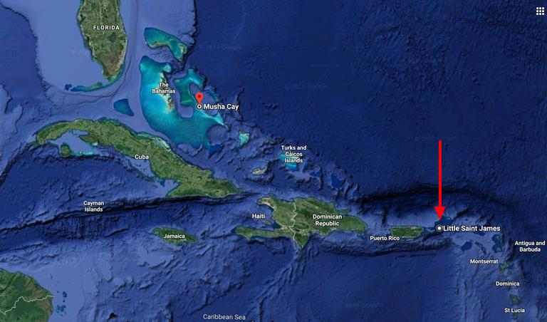 Little Saint James  St. Thomas  USVI to Musha Cay  The Bahamas   Google Maps.png