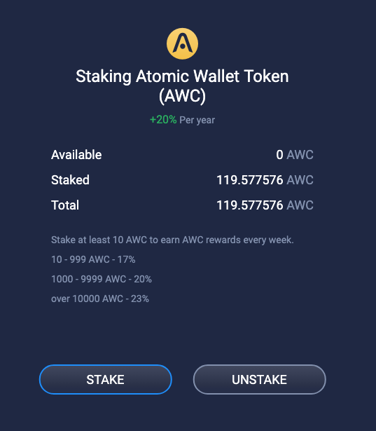 Staking with Atomic Wallet