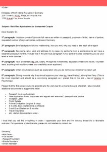 Germany Visa Application Cover Letter Template