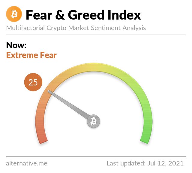 Crypto Fear & Greed Index on Monday, July 12th, 2021
