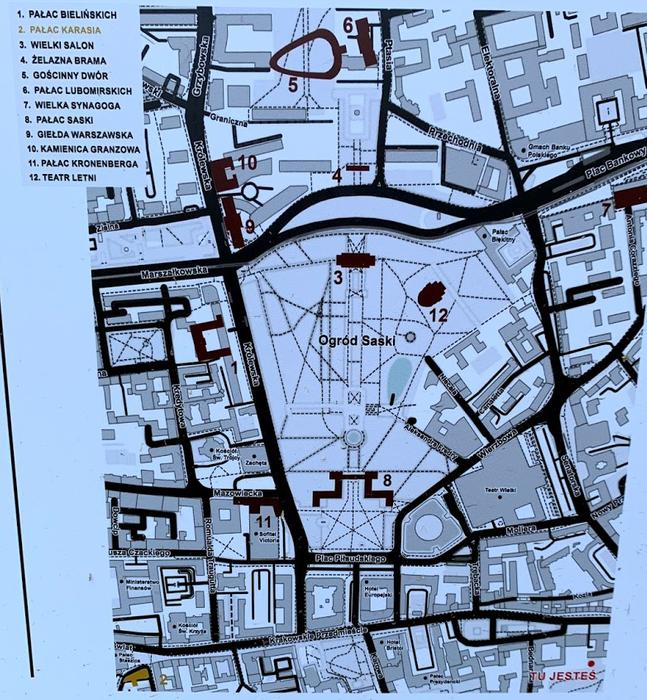 Położenie budynków z parku miniatur na mapie współczesnej Warszawy