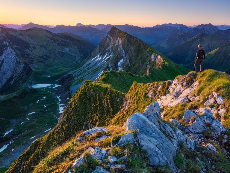 Spectacular view from the Delpsjoch Mountain during sunrise