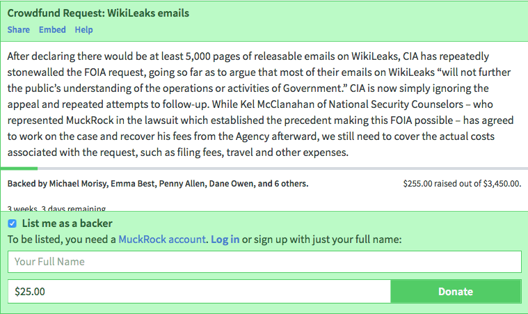 Help sue the CIA for the release of thousands of WikiLeaks related emails • MuckRock2.png