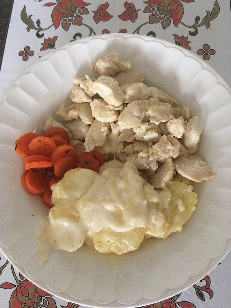 poulet gratin dauphinois carottes thym miel.JPG