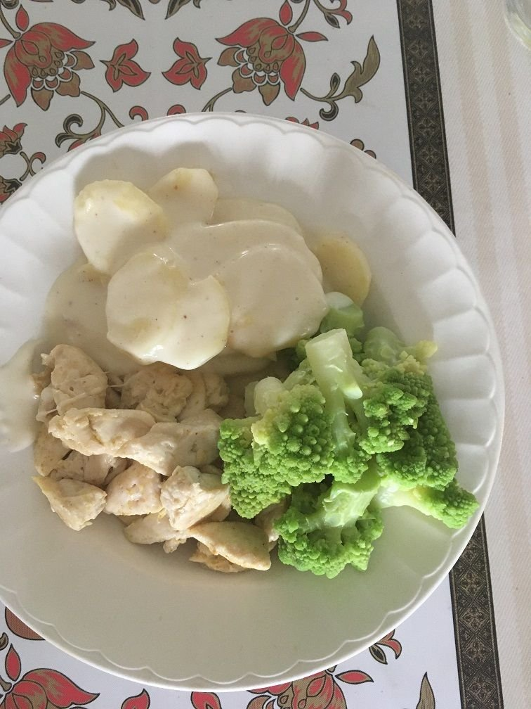 poulet chou romanesco gratin dauphinois.JPG