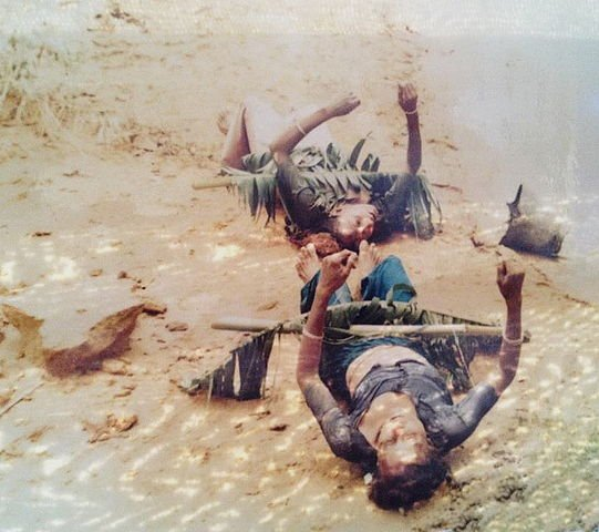 Corpses of the victims of the 1991 Bangladesh cyclone in Sandwip displaying signs of rigor mortis