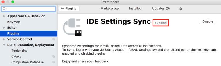 IDE Settings Sync for Intellij