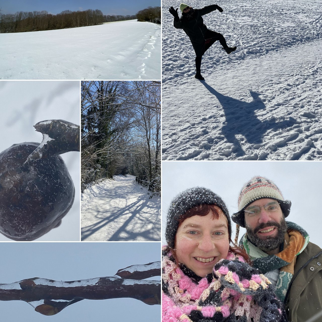 Fotos of a snowy landscape and Simone with her husband in deep snow