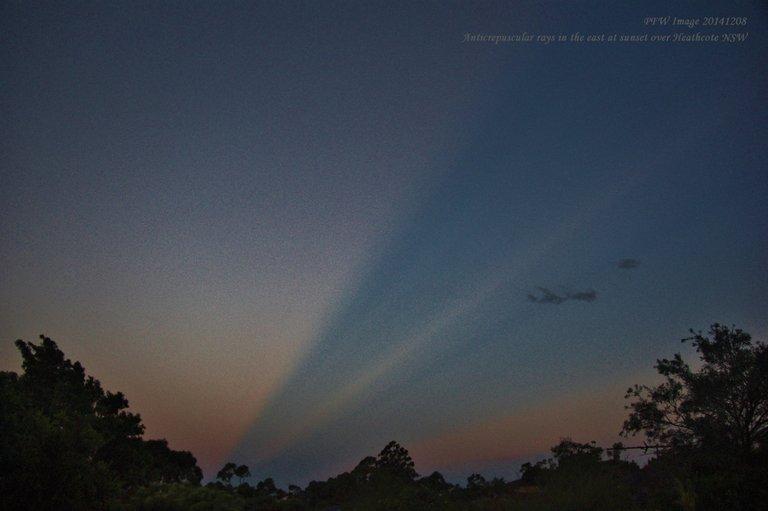 Anti-crepuscular Solar Rays Heathcote Sunset