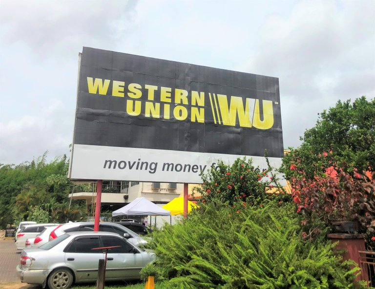 a Western Union branch near our house in Paramaribo, Suriname