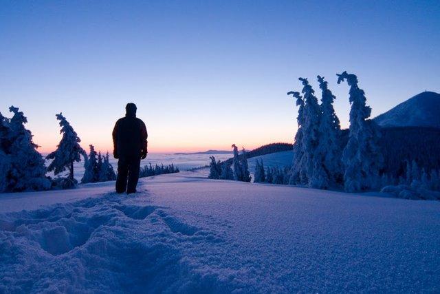 Winter trekking in Carpathian mountains, Ukraine
