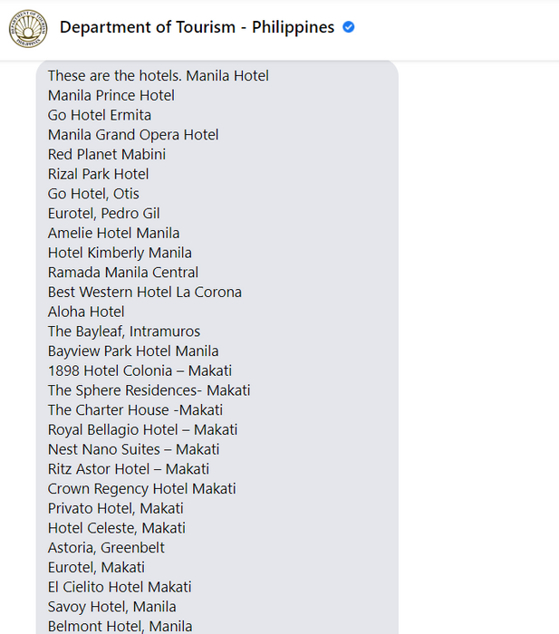 Source: DOT as of 16 Feb 2021, their official links of inspected hotels are all broken that time so they gave me this manual list and I check the updates from time to time.