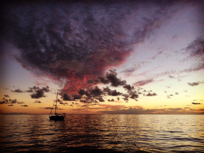 The anchorage in Vale Gran Rey, La Gomera Canary islands, at sunset.