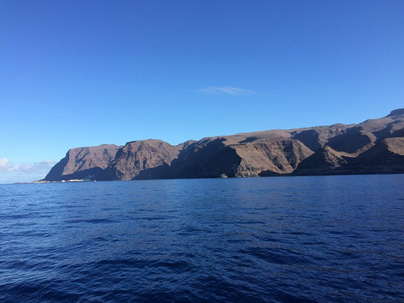 Almost there. The anchorage between the cliffs of La Gomera (lower left)