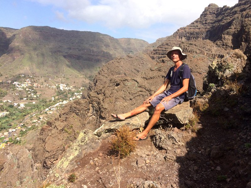 A difficult, steep hike from the valley and the road below. Valle Gran Rey, La Gomera, Canary islands
