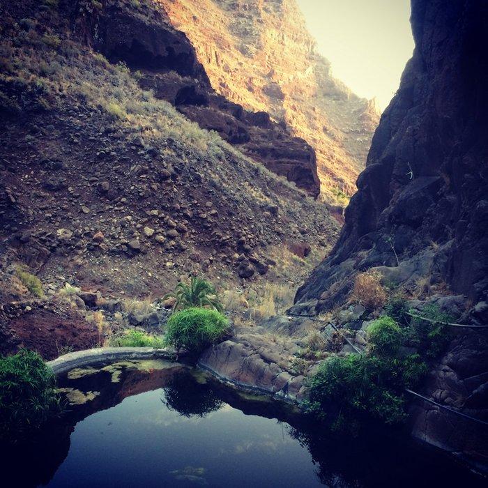 Canyon water pools. Hiking in Valle Gran Rey, La Gomera