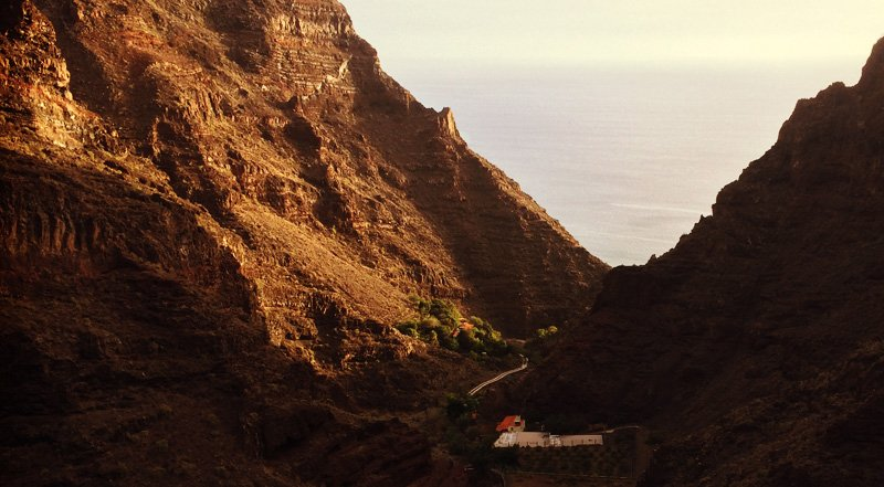 The ocean visible just before sunset on my hike down the canyon in Valle Gran Rey