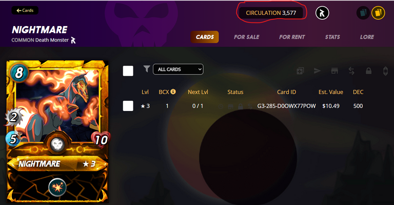 Gold Foil Nightmare (Reward) card only has 3,577 cards in circulation as of 25 Aug 2021