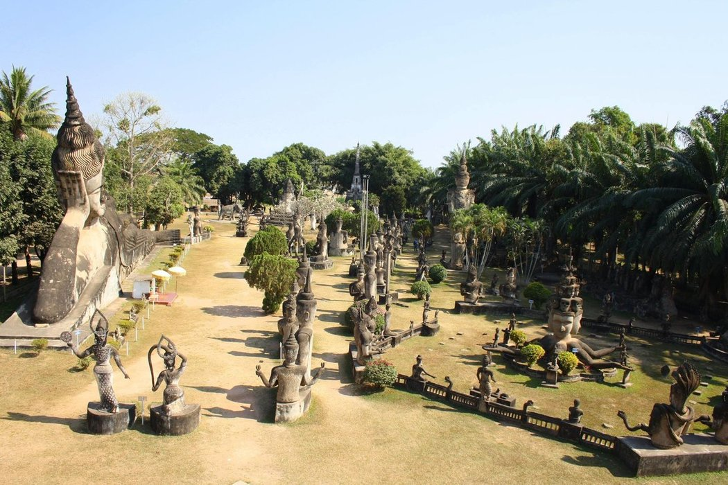 Buddha Park is located about 26 km outside of Vientiane. The riverside park contains more than 200 Buddhist and Hindu concrete statues.