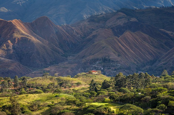 Closeup of Vilcabamba valley in the morning