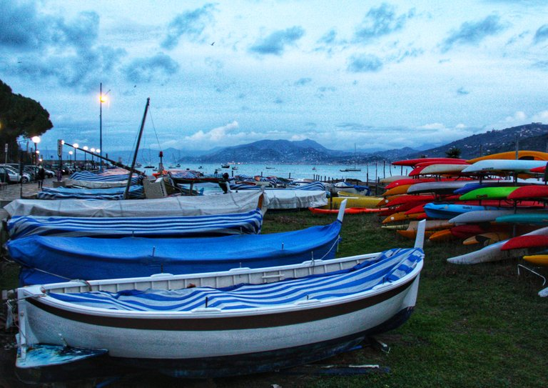Canoes and boats in Sestri Levante...