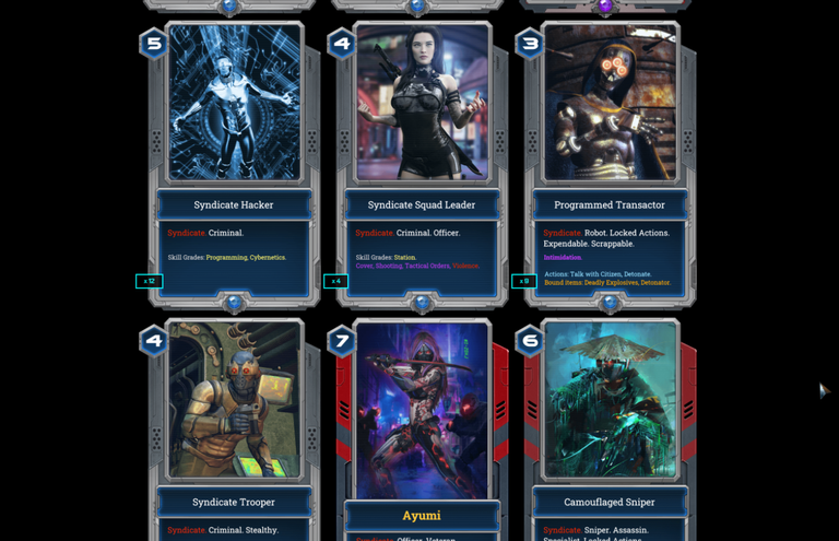 Six of the 200+ unique EXODE cards ; these are some of our Syndicate (criminal) characters.