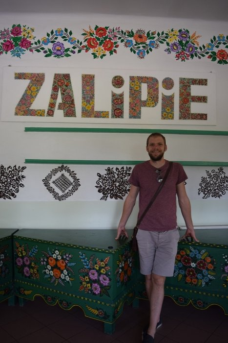 Posing for a mandatory photo with the Zalipie sign!