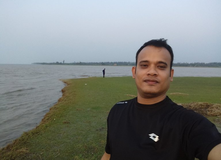 My colleague on the green field..