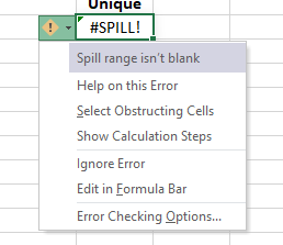 Excel Dynamic Arrays