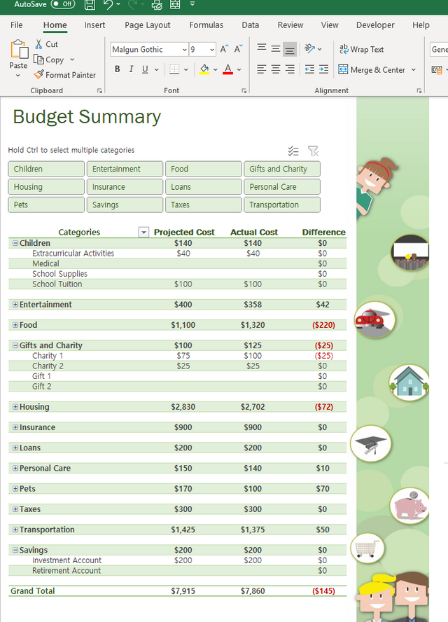 Household Budget in Excel