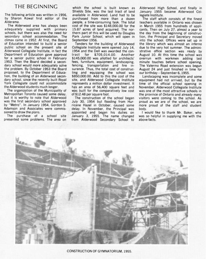 """Original Newspaper Article: """"The Beginning"""", Source: http://alderwoodcollegiate.org/a1.j"""