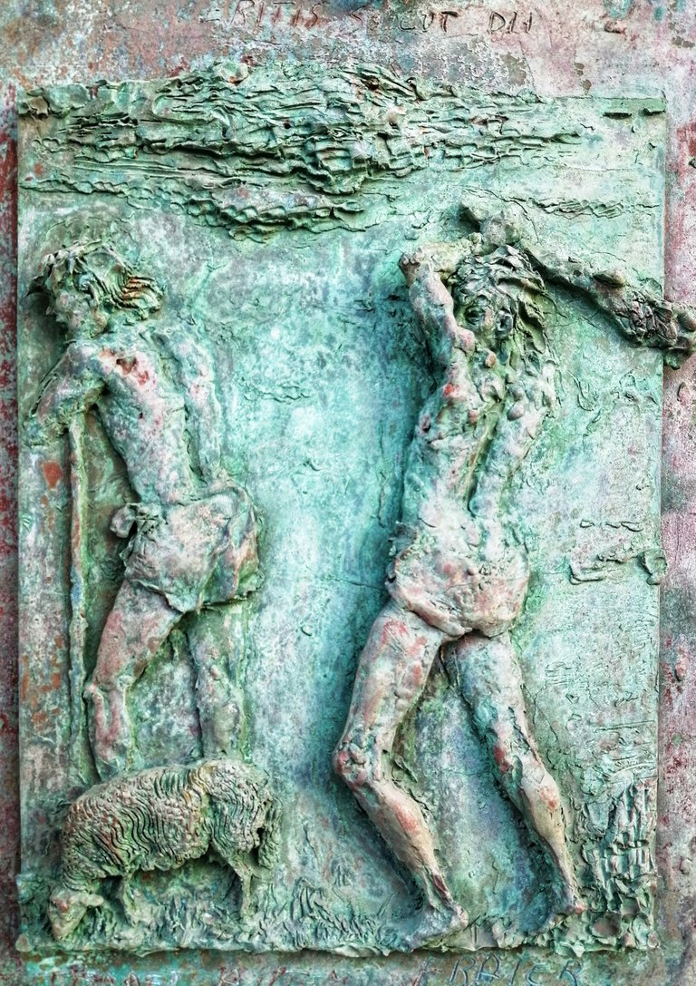 Bas-relief of a club and a shepherd...