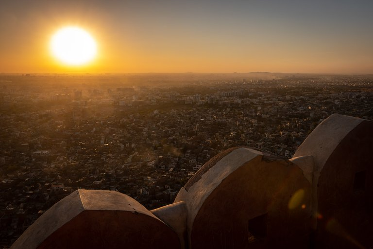 Sunset view over Jaipur from Nahargarh Fort