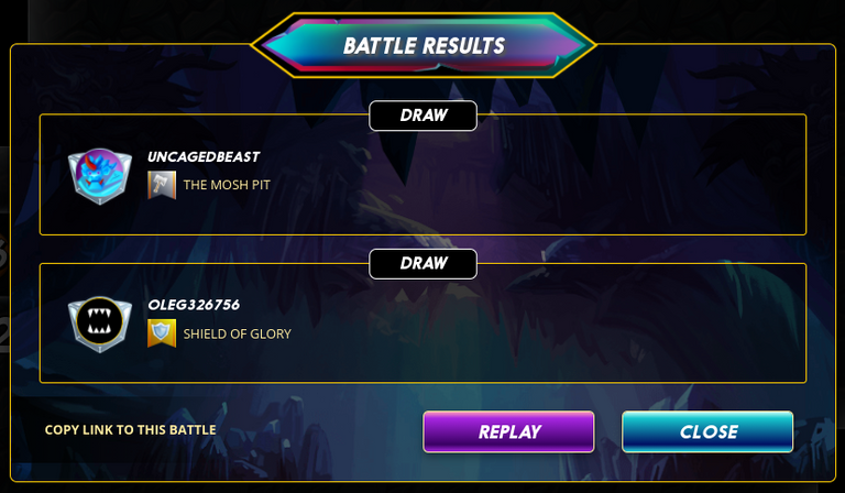 Battle results: draw. @uncagedbeast vs. @oleg326756