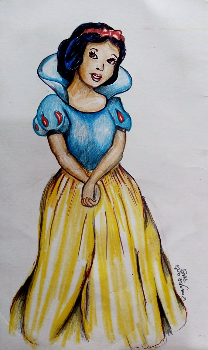 """A random drawing of """"Snow White"""" from the movie:- Snow White and the seven Dwarfs."""