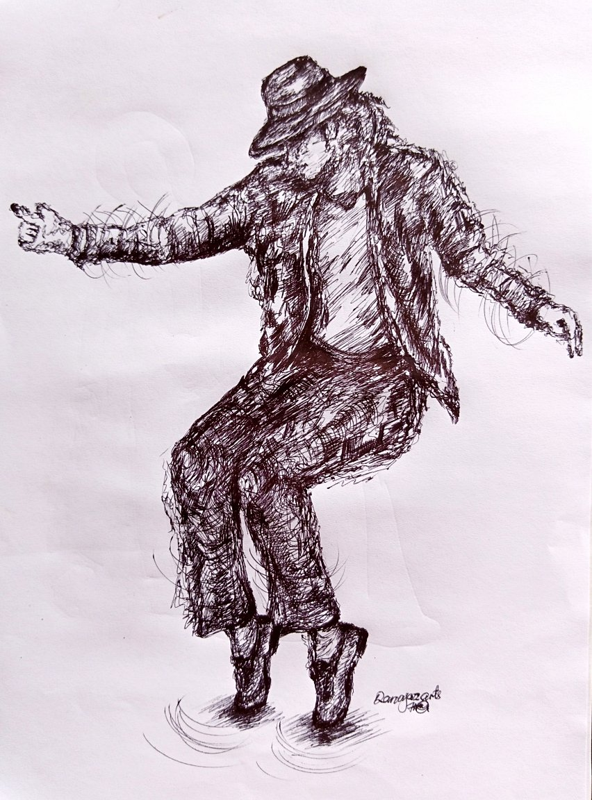 """A scribbled ball point pen sketch of """"Michael Jackson"""" on one of his unique dance steps."""