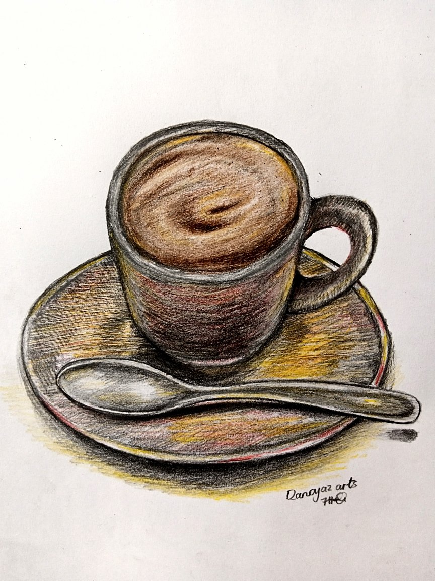 A random colour drawing of a Cup of coffee, a saucer and a spoon (Still life composition).